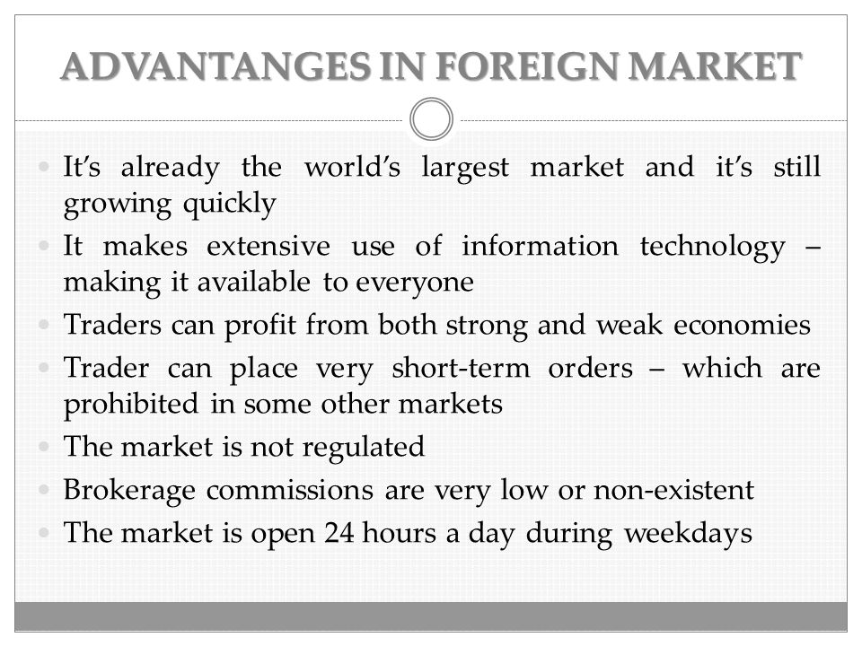 TERMS RELATED TO FOREIGN EXCHANGE  Foreign exchange reserves- holdings of other countries currencies  Foreign exchange controls- controls imposed by a government on the purchase/sale of foreign currencies  Retail foreign exchange platform- speculative trading of foreign exchange by individuals using electronic trading platforms  Foreign exchange risk- arises from the change in price of one currency against another  International trade- the exchange of goods and services across national boundaries  Foreign exchange company- a broker that offers currency exchange and international payments  Bureau de change- a business whose customers exchange one currency for another  Currency pair- the quotation of the relative value of a currency unit against the unit of another currency in the foreign exchange market  Digital currency exchanger- market makers which exchange fiat currency for electronic money