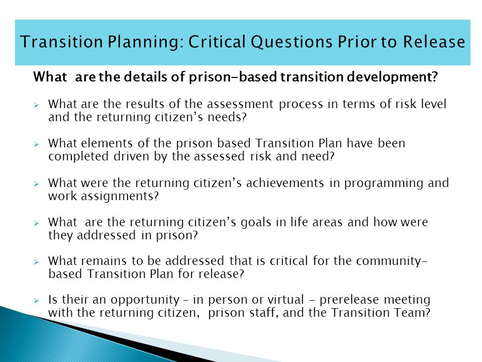 What are the details of prison-based transition development.
