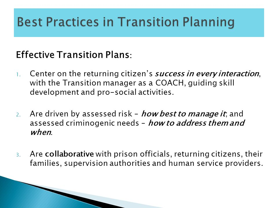 Effective Transition Plans : 1.