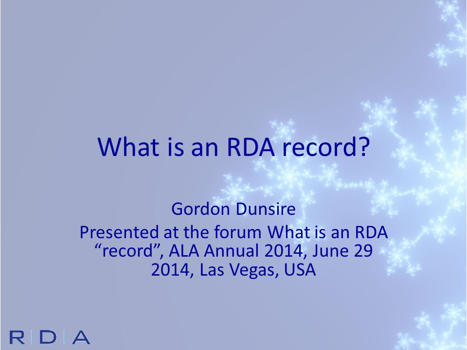 What is an RDA record.