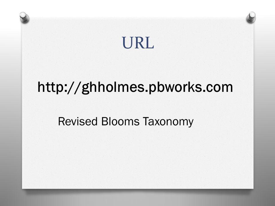 URL http://ghholmes.pbworks.com Revised Blooms Taxonomy