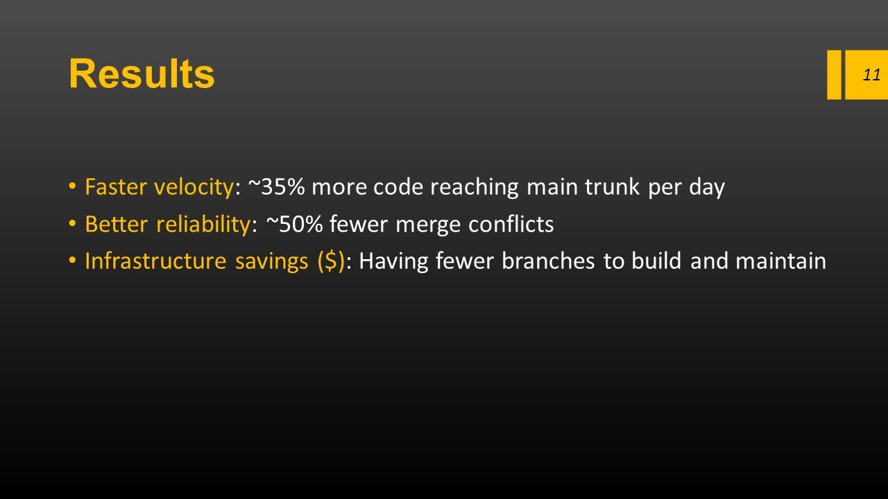 Results Faster velocity: ~35% more code reaching main trunk per day Better reliability: ~50% fewer merge conflicts Infrastructure savings ($): Having