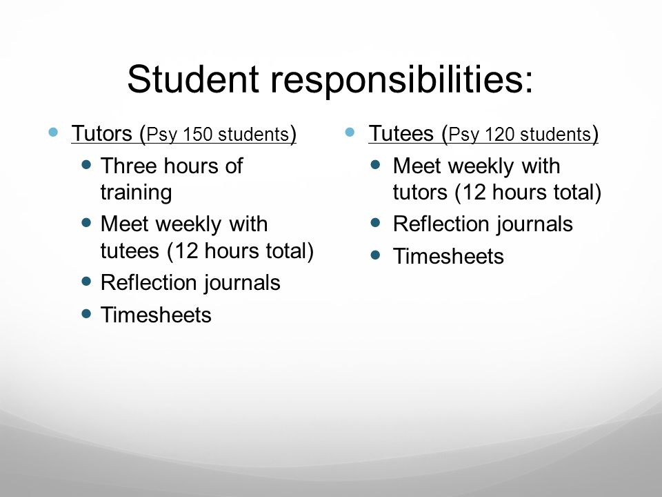 Student responsibilities: Tutors ( Psy 150 students ) Three hours of training Meet weekly with tutees (12 hours total) Reflection journals Timesheets Tutees ( Psy 120 students ) Meet weekly with tutors (12 hours total) Reflection journals Timesheets