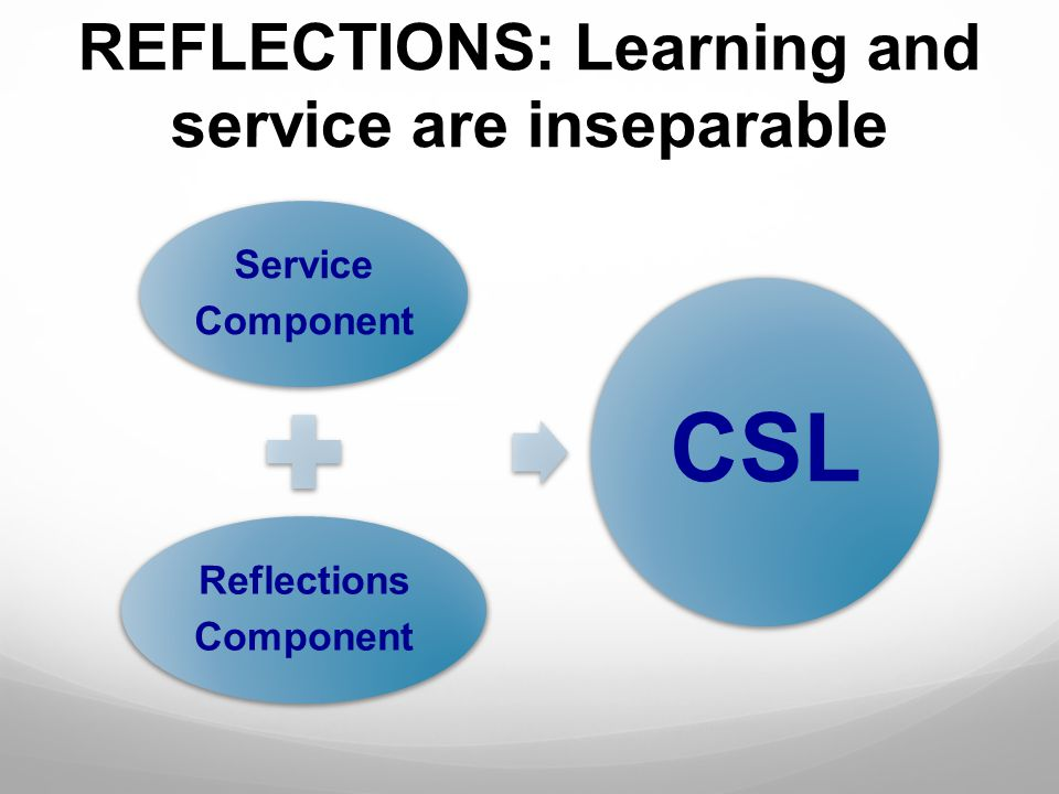 REFLECTIONS: Learning and service are inseparable Service Component Reflections Component CSL