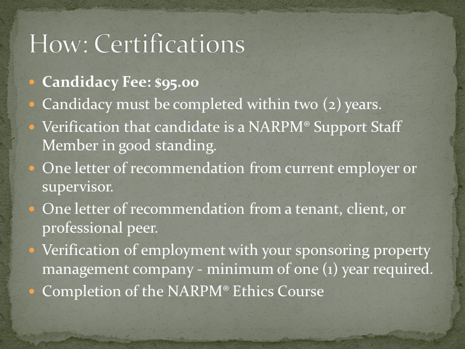Completion of three NARPM® approved courses.Electives totaling at least 25 points.