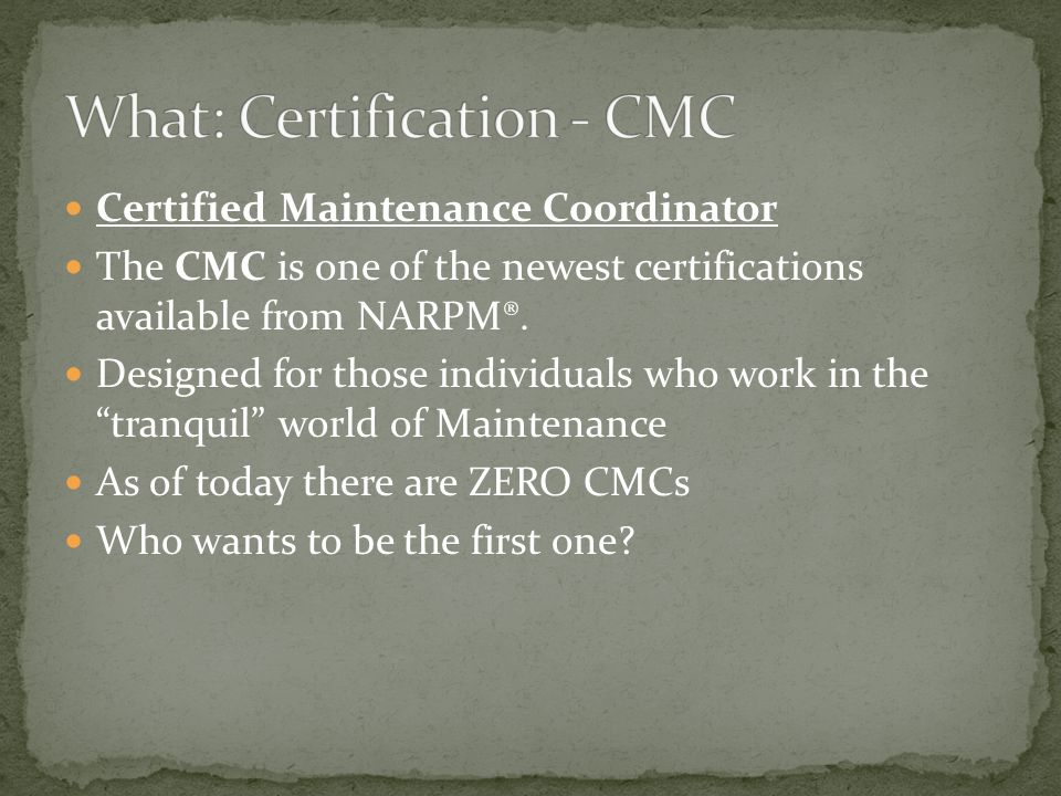 Certified Residential Management Bookkeeper The CRMB is one of the newest certifications available from NARPM®.