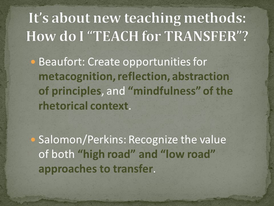 Beaufort: Create opportunities for metacognition, reflection, abstraction of principles, and mindfulness of the rhetorical context.