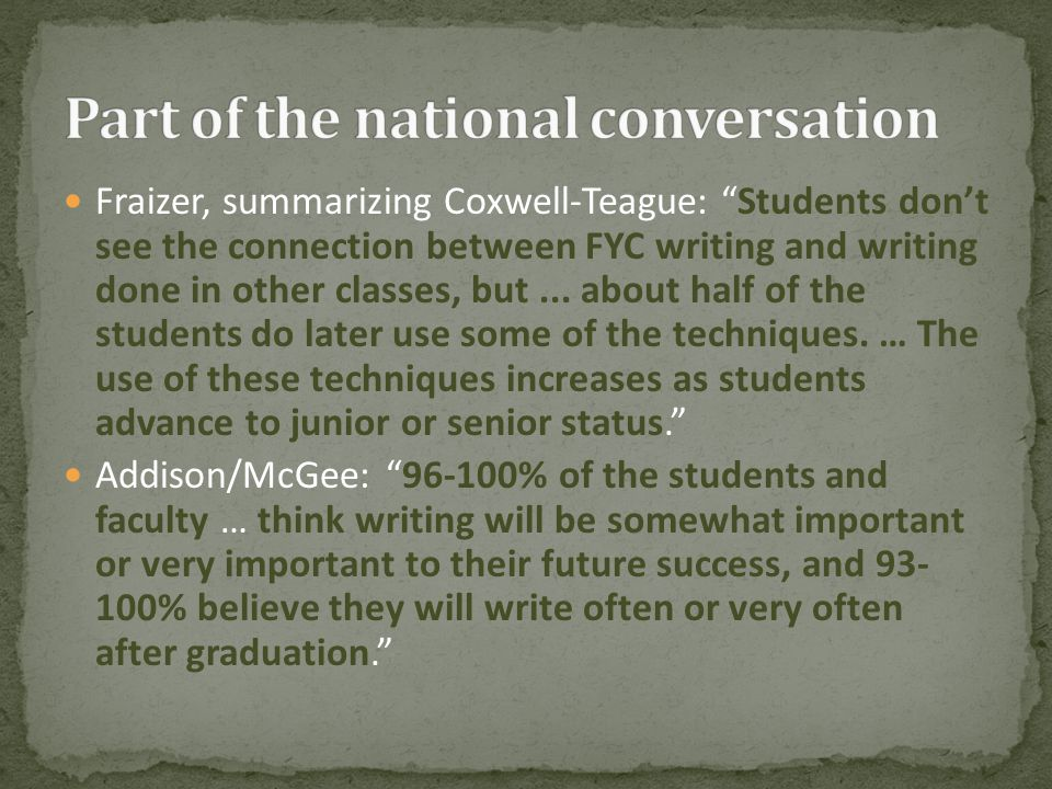 "Fraizer, summarizing Coxwell-Teague: ""Students don't see the connection between FYC writing and writing done in other classes, but... about half of th"
