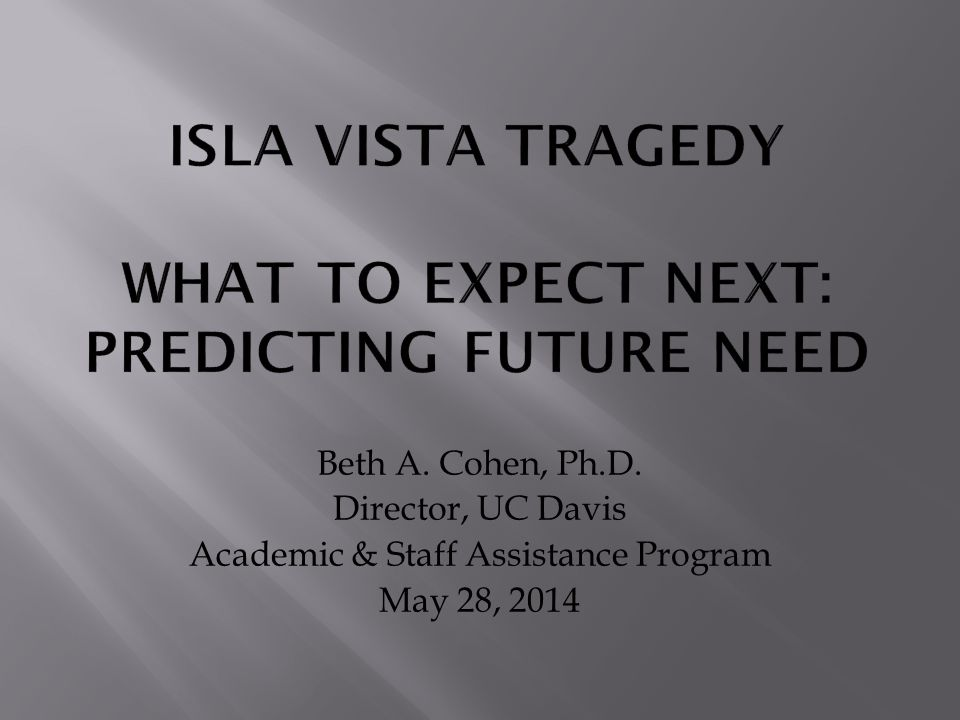 Beth A. Cohen, Ph.D. Director, UC Davis Academic & Staff Assistance Program May 28, 2014