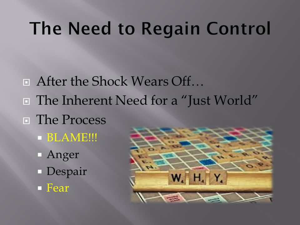  After the Shock Wears Off…  The Inherent Need for a Just World  The Process  BLAME!!.