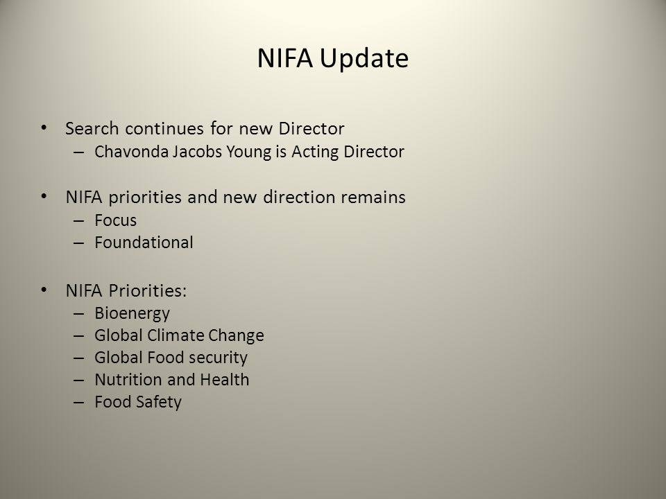NIFA Update Search continues for new Director – Chavonda Jacobs Young is Acting Director NIFA priorities and new direction remains – Focus – Foundational NIFA Priorities: – Bioenergy – Global Climate Change – Global Food security – Nutrition and Health – Food Safety