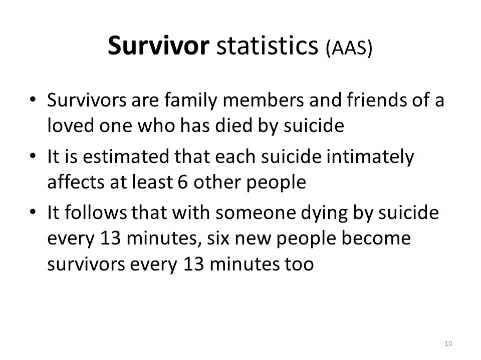 Survivor statistics (AAS) Survivors are family members and friends of a loved one who has died by suicide It is estimated that each suicide intimately affects at least 6 other people It follows that with someone dying by suicide every 13 minutes, six new people become survivors every 13 minutes too 10