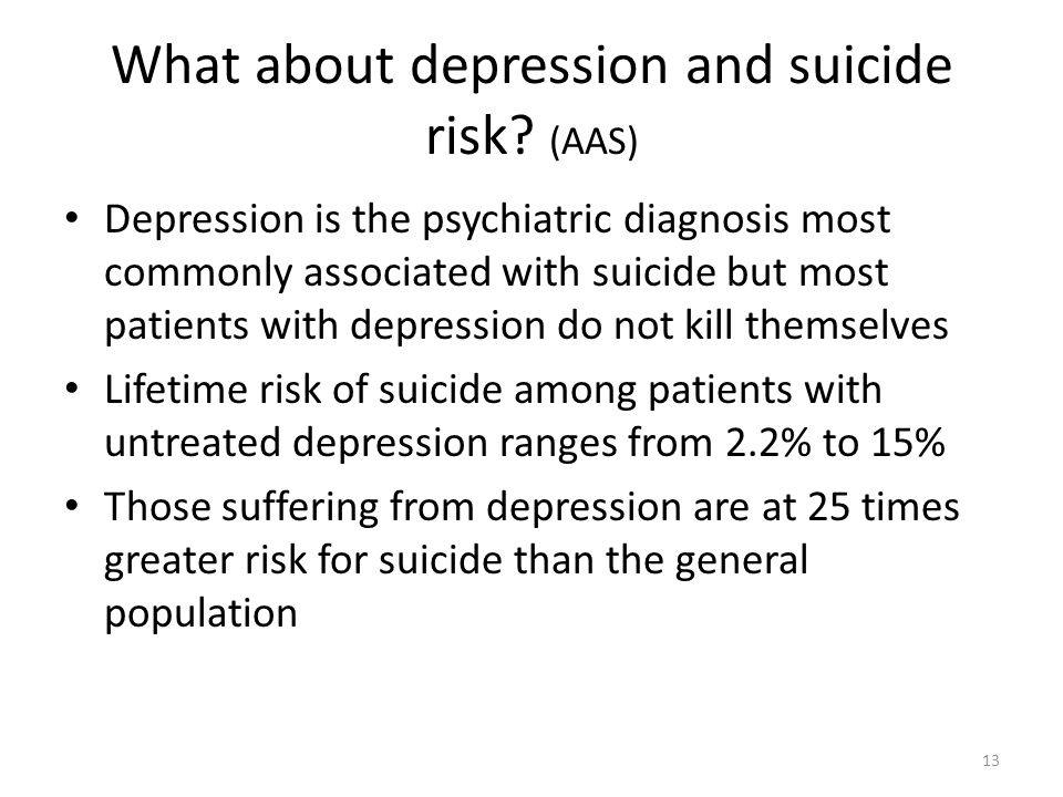 What about depression and suicide risk? (AAS) Depression is the psychiatric diagnosis most commonly associated with suicide but most patients with dep