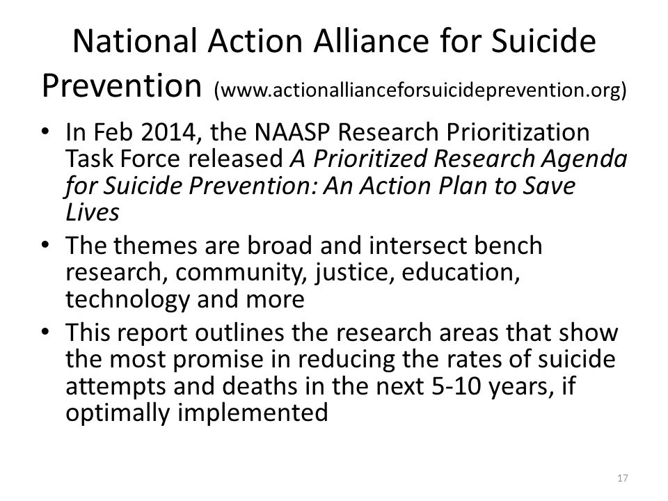 National Action Alliance for Suicide Prevention (www.actionallianceforsuicideprevention.org) In Feb 2014, the NAASP Research Prioritization Task Force