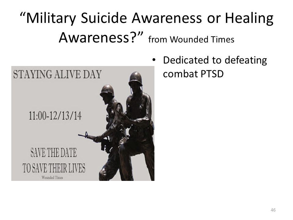 Military Suicide Awareness or Healing Awareness from Wounded Times Dedicated to defeating combat PTSD 46