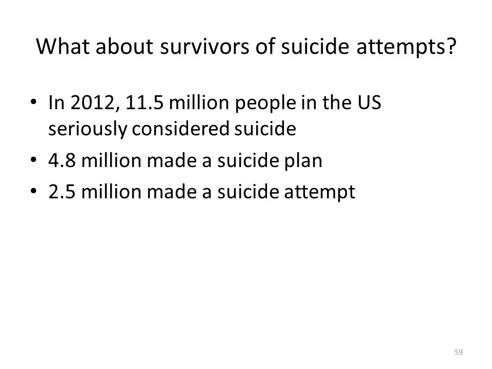 What about survivors of suicide attempts.
