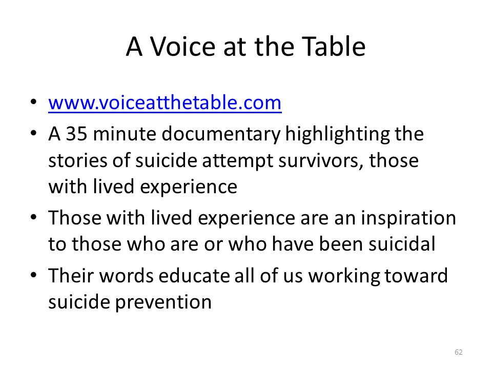 A Voice at the Table www.voiceatthetable.com A 35 minute documentary highlighting the stories of suicide attempt survivors, those with lived experience Those with lived experience are an inspiration to those who are or who have been suicidal Their words educate all of us working toward suicide prevention 62