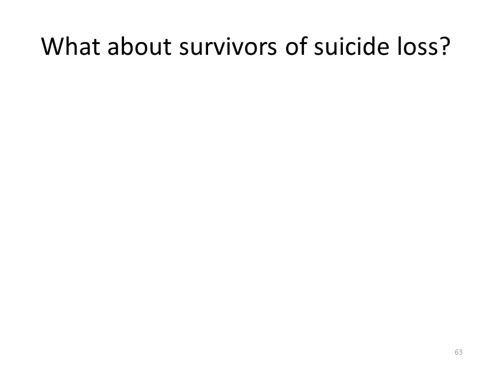 What about survivors of suicide loss? 63