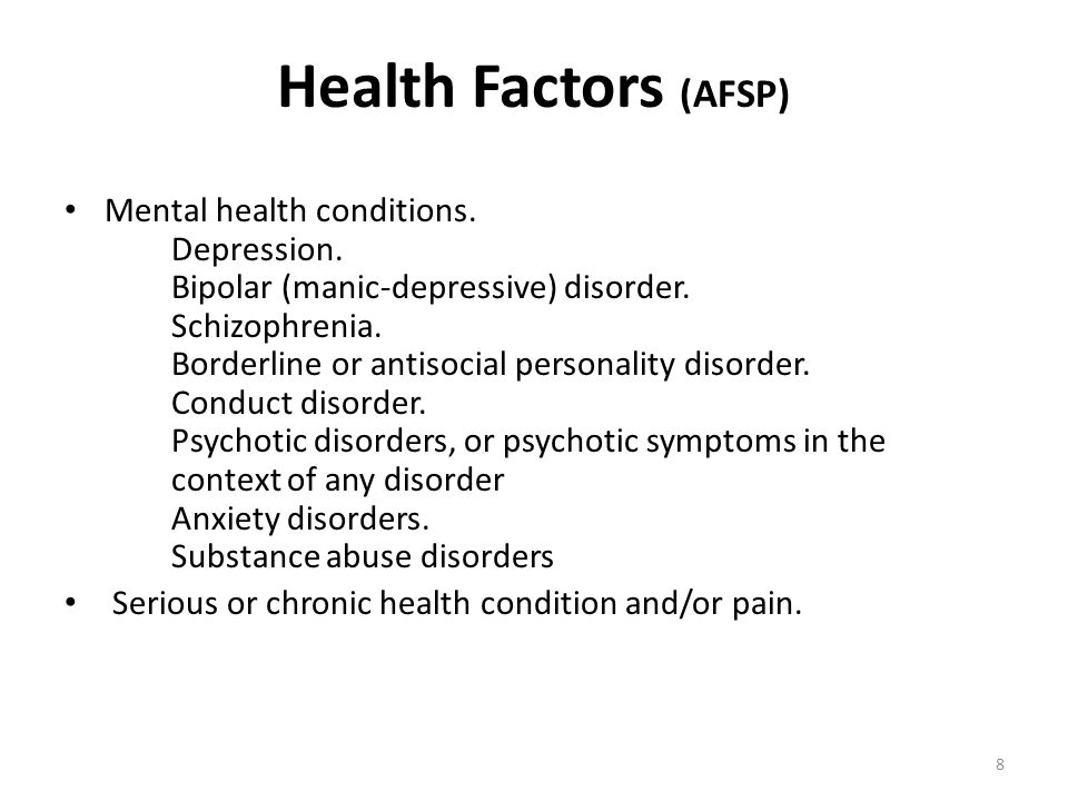 Health Factors (AFSP) Mental health conditions. Depression. Bipolar (manic-depressive) disorder. Schizophrenia. Borderline or antisocial personality d