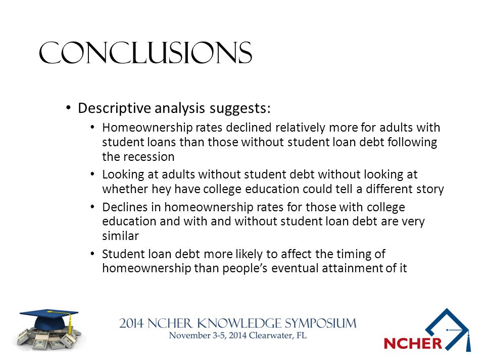 Conclusions Descriptive analysis suggests: Homeownership rates declined relatively more for adults with student loans than those without student loan debt following the recession Looking at adults without student debt without looking at whether hey have college education could tell a different story Declines in homeownership rates for those with college education and with and without student loan debt are very similar Student loan debt more likely to affect the timing of homeownership than people's eventual attainment of it