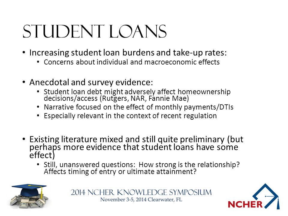 Student Loans Increasing student loan burdens and take-up rates: Concerns about individual and macroeconomic effects Anecdotal and survey evidence: Student loan debt might adversely affect homeownership decisions/access (Rutgers, NAR, Fannie Mae) Narrative focused on the effect of monthly payments/DTIs Especially relevant in the context of recent regulation Existing literature mixed and still quite preliminary (but perhaps more evidence that student loans have some effect) Still, unanswered questions: How strong is the relationship.