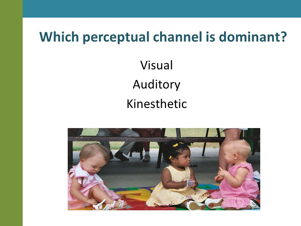 Which perceptual channel is dominant? Visual Auditory Kinesthetic