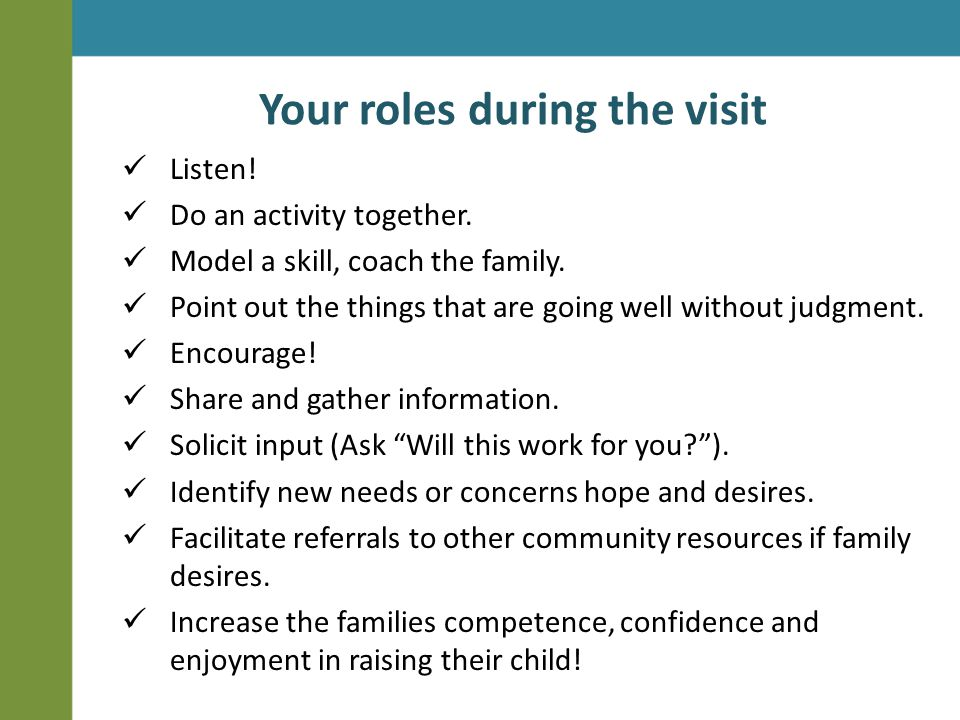 Your roles during the visit Listen.Do an activity together.
