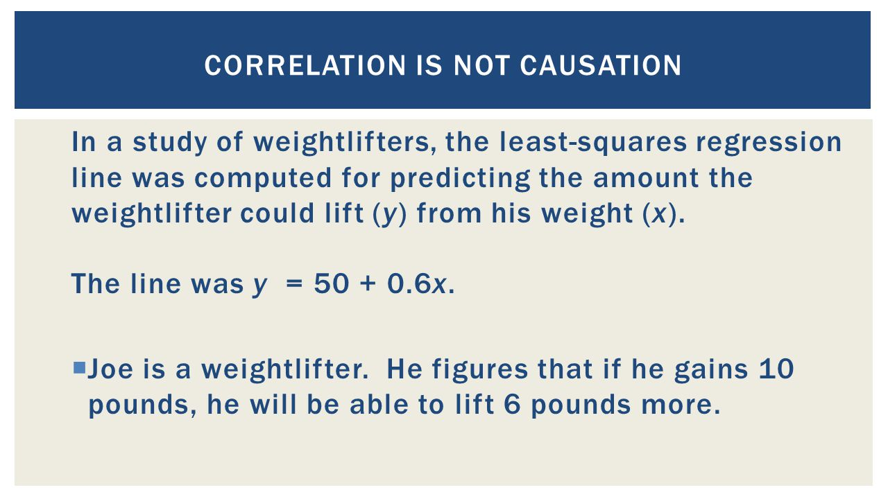 In a study of weightlifters, the least-squares regression line was computed for predicting the amount the weightlifter could lift (y) from his weight (x).
