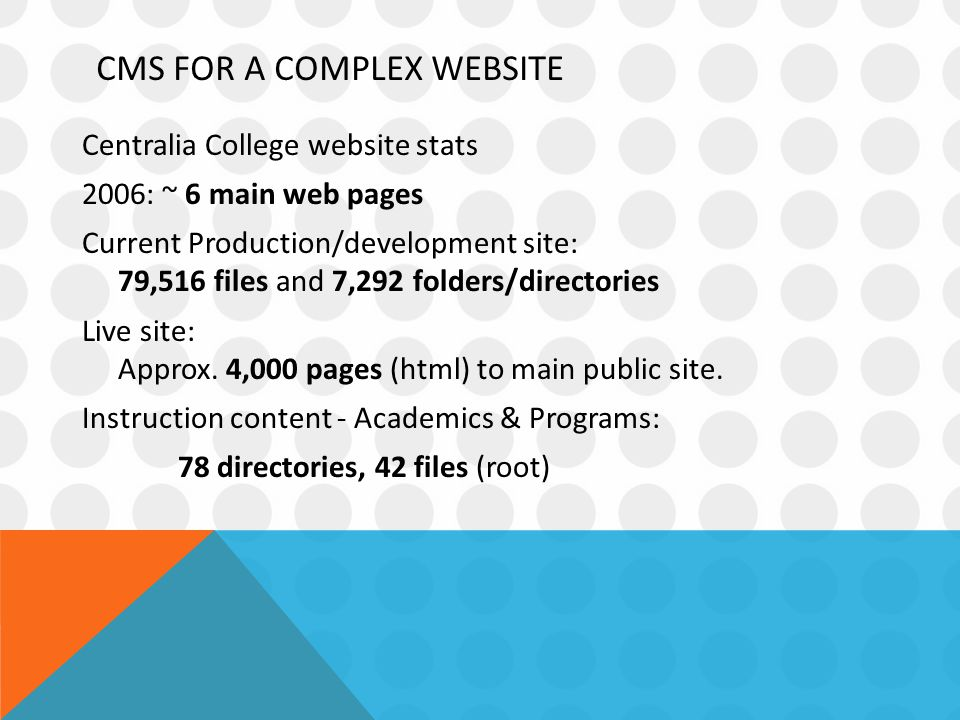 CMS FOR A COMPLEX WEBSITE Centralia College website stats 2006: ~ 6 main web pages Current Production/development site: 79,516 files and 7,292 folders/directories Live site: Approx.