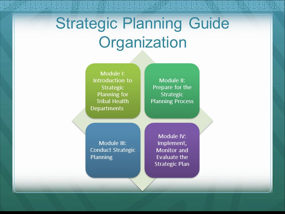 Strategic Planning Guide Organization Module I: Introduction to Strategic Planning for Tribal Health Departments Module II: Prepare for the Strategic