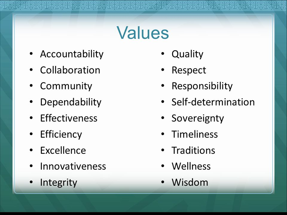 Values Accountability Collaboration Community Dependability Effectiveness Efficiency Excellence Innovativeness Integrity Quality Respect Responsibilit