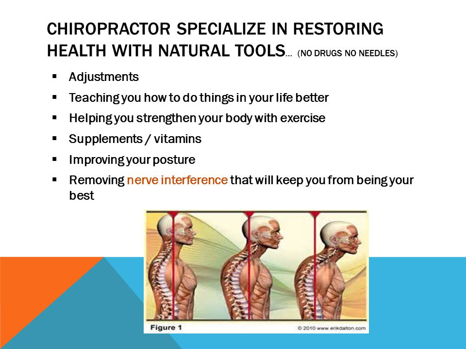 CHIROPRACTOR SPECIALIZE IN RESTORING HEALTH WITH NATURAL TOOLS … (NO DRUGS NO NEEDLES)  Adjustments  Teaching you how to do things in your life bett