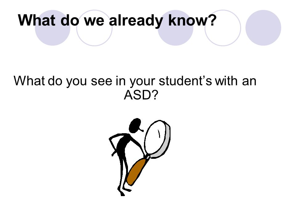 What do we already know? What do you see in your student's with an ASD?