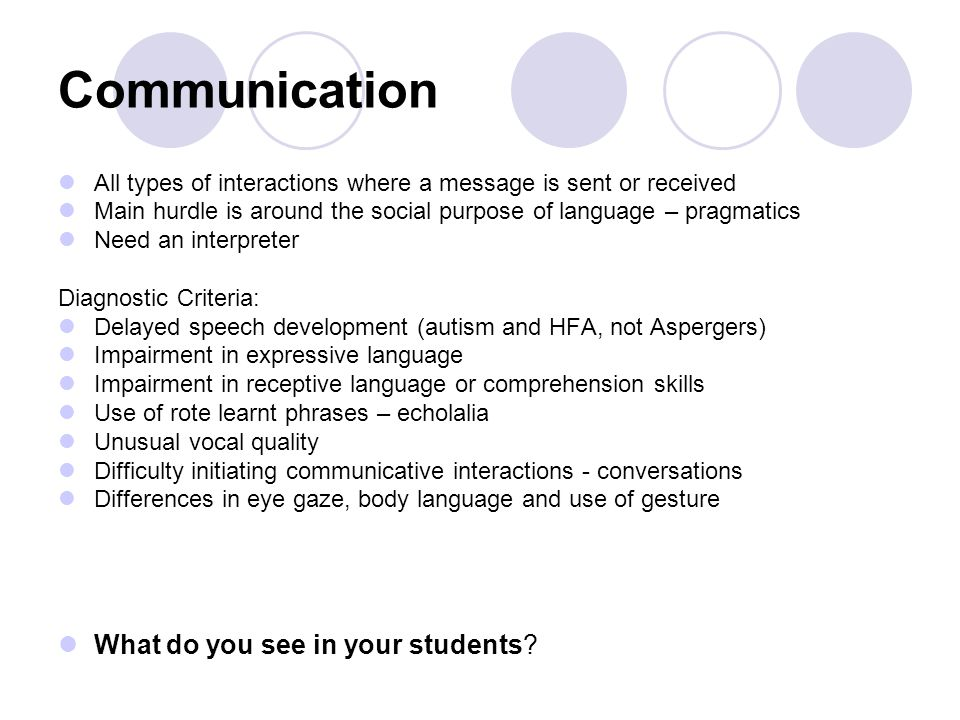 Communication All types of interactions where a message is sent or received Main hurdle is around the social purpose of language – pragmatics Need an interpreter Diagnostic Criteria: Delayed speech development (autism and HFA, not Aspergers) Impairment in expressive language Impairment in receptive language or comprehension skills Use of rote learnt phrases – echolalia Unusual vocal quality Difficulty initiating communicative interactions - conversations Differences in eye gaze, body language and use of gesture What do you see in your students?