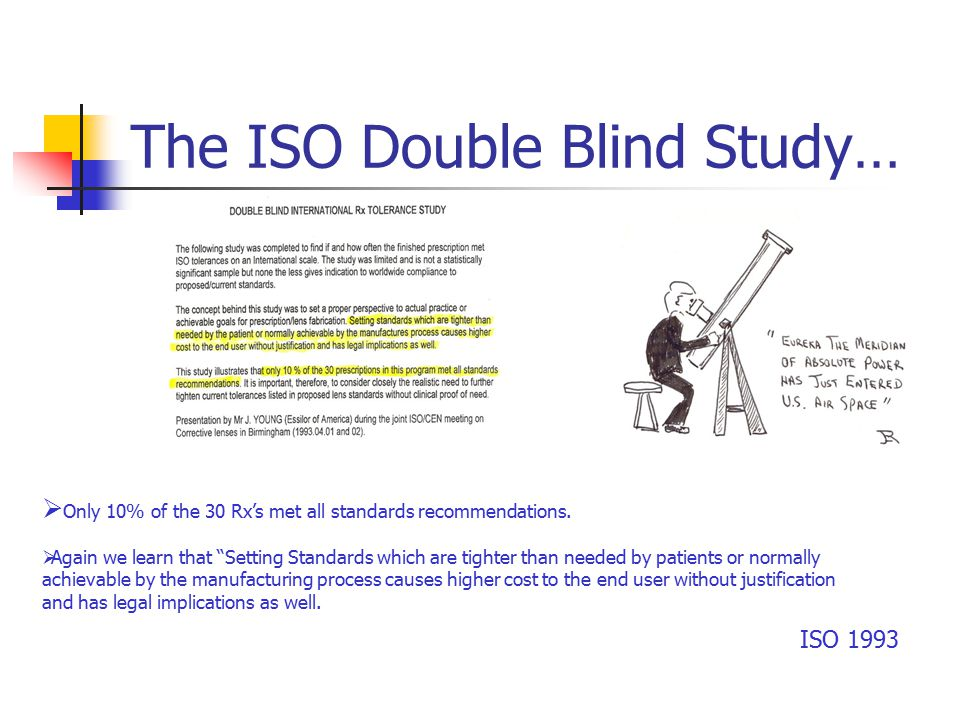 The ISO Double Blind Study… ISO 1993  Only 10% of the 30 Rx's met all standards recommendations.