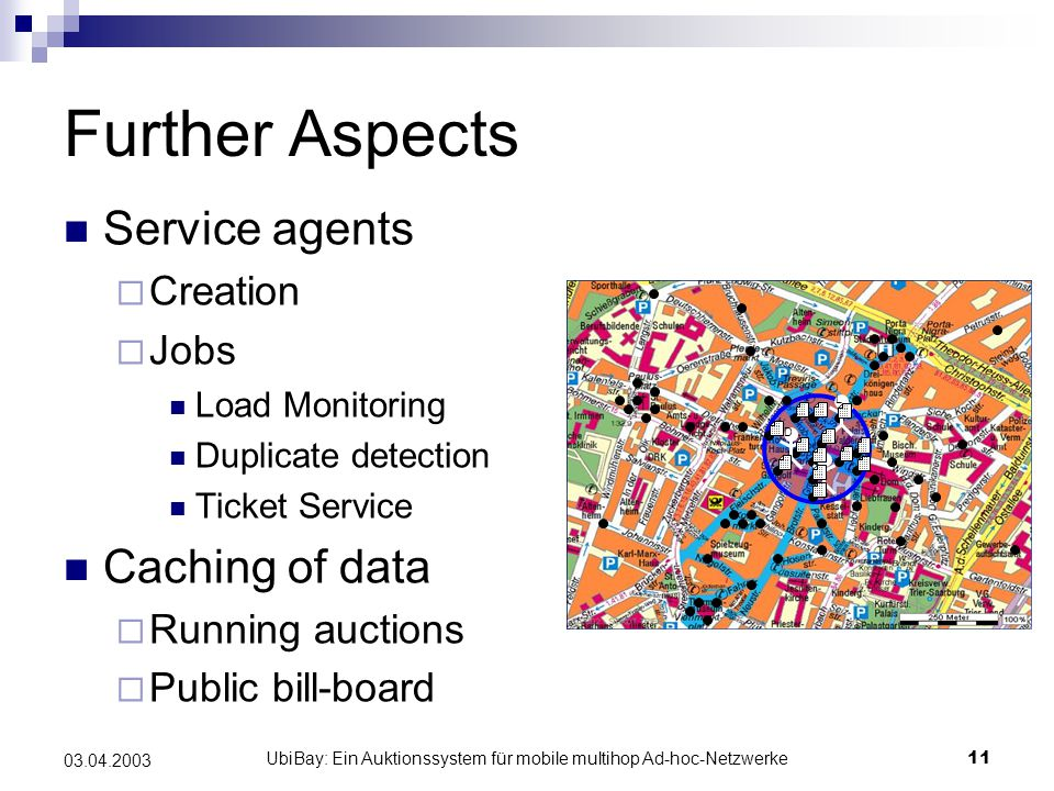 UbiBay: Ein Auktionssystem für mobile multihop Ad-hoc-Netzwerke11 03.04.2003 Further Aspects Service agents  Creation  Jobs Load Monitoring Duplicate detection Ticket Service Caching of data  Running auctions  Public bill-board L D T