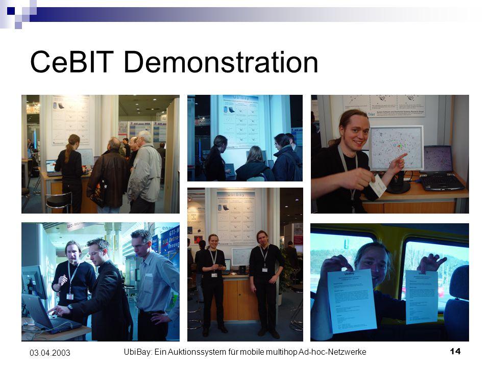 UbiBay: Ein Auktionssystem für mobile multihop Ad-hoc-Netzwerke14 03.04.2003 CeBIT Demonstration