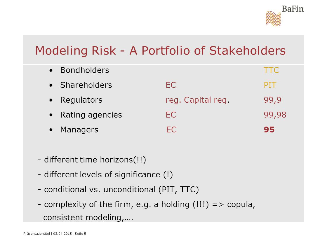Präsentationtitel | 03.04.2015 | Seite 5 Modeling Risk - A Portfolio of Stakeholders Bondholders TTC ShareholdersECPIT Regulators reg.