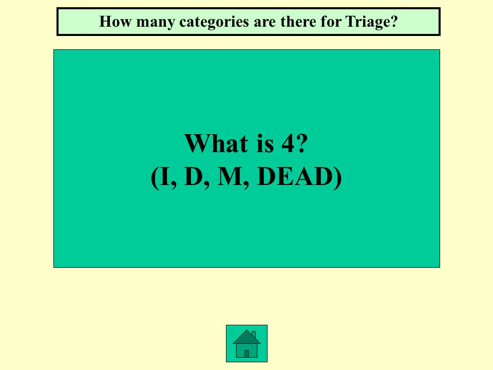 What is 4? (I, D, M, DEAD) How many categories are there for Triage?