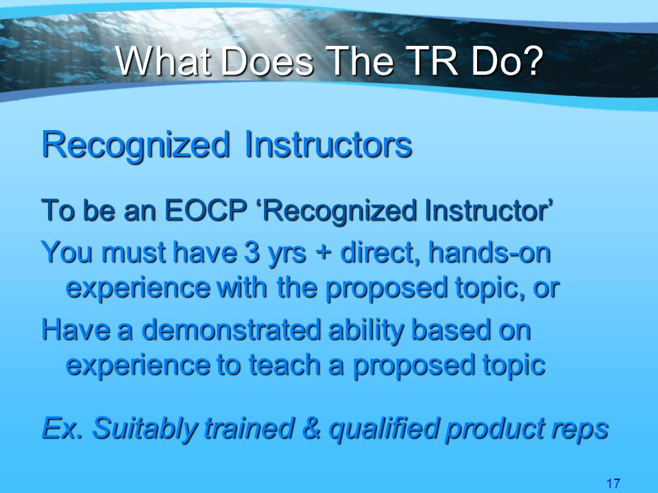 17 What Does The TR Do.