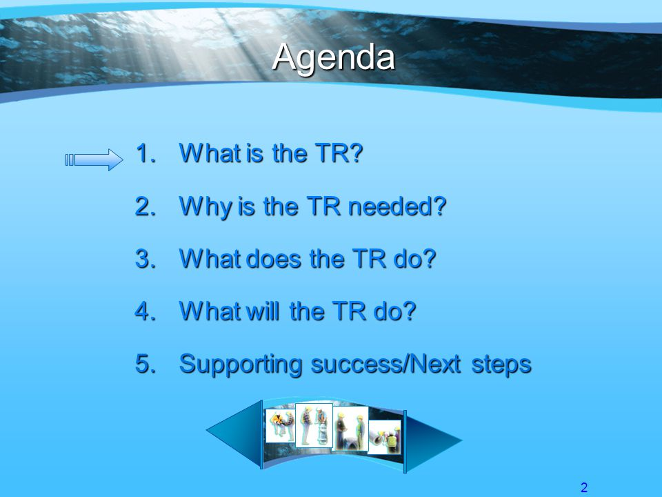 13 Agenda 1.What is the TR.2.Why is the TR needed.