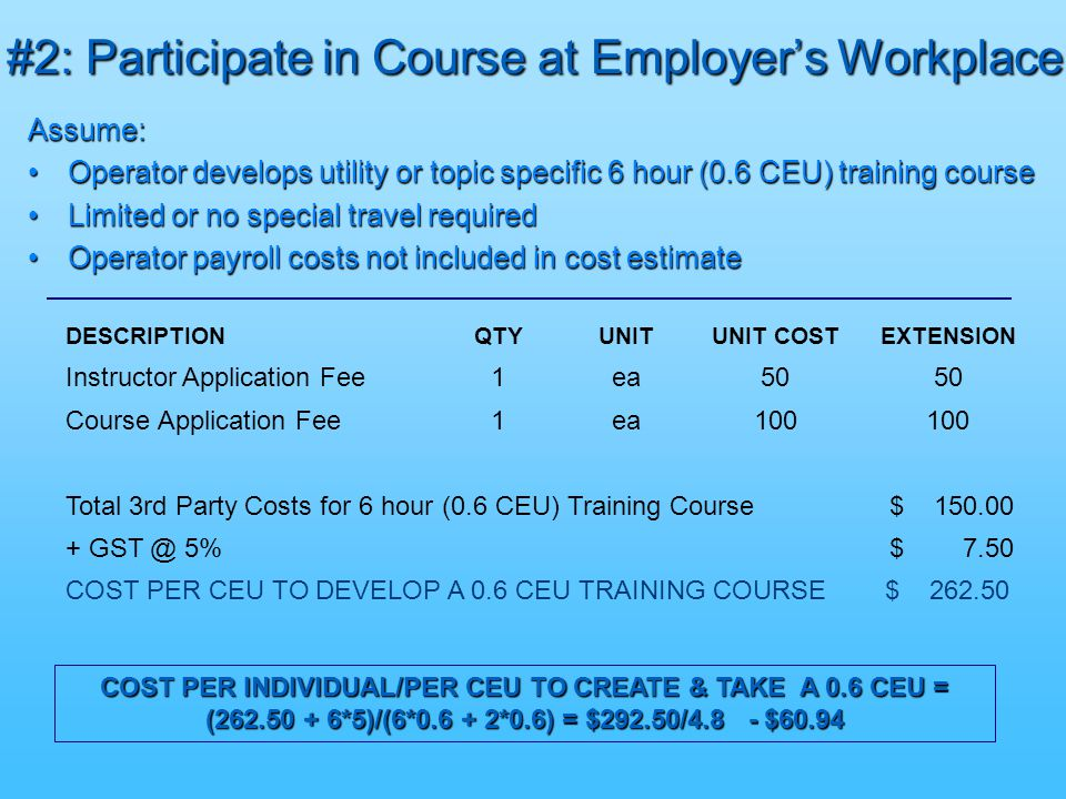 #2: Participate in Course at Employer's Workplace Assume: Operator develops utility or topic specific 6 hour (0.6 CEU) training courseOperator develops utility or topic specific 6 hour (0.6 CEU) training course Limited or no special travel requiredLimited or no special travel required Operator payroll costs not included in cost estimateOperator payroll costs not included in cost estimate COST PER INDIVIDUAL/PER CEU TO CREATE & TAKE A 0.6 CEU = (262.50 + 6*5)/(6*0.6 + 2*0.6) = $292.50/4.8 - $60.94 DESCRIPTIONQTYUNITUNIT COSTEXTENSION Instructor Application Fee1ea50 Course Application Fee1ea100 Total 3rd Party Costs for 6 hour (0.6 CEU) Training Course $ 150.00 + GST @ 5% $ 7.50 COST PER CEU TO DEVELOP A 0.6 CEU TRAINING COURSE $ 262.50