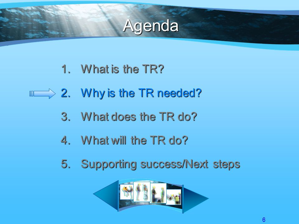 6 Agenda 1.What is the TR. 2.Why is the TR needed.