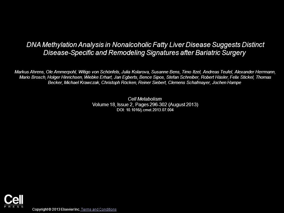 DNA Methylation Analysis in Nonalcoholic Fatty Liver Disease Suggests Distinct Disease-Specific and Remodeling Signatures after Bariatric Surgery Mark
