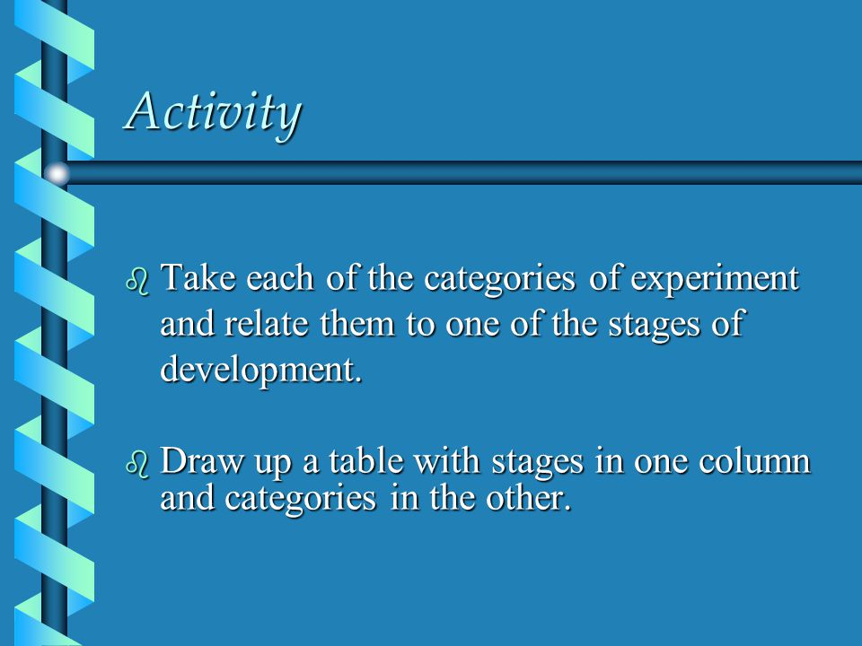 Activity b Take each of the categories of experiment and relate them to one of the stages of development.