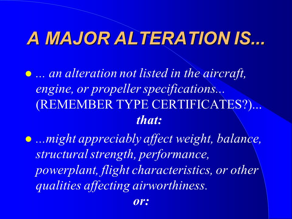 A MAJOR ALTERATION IS...l...