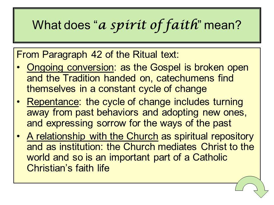 What does a spirit of faith mean.