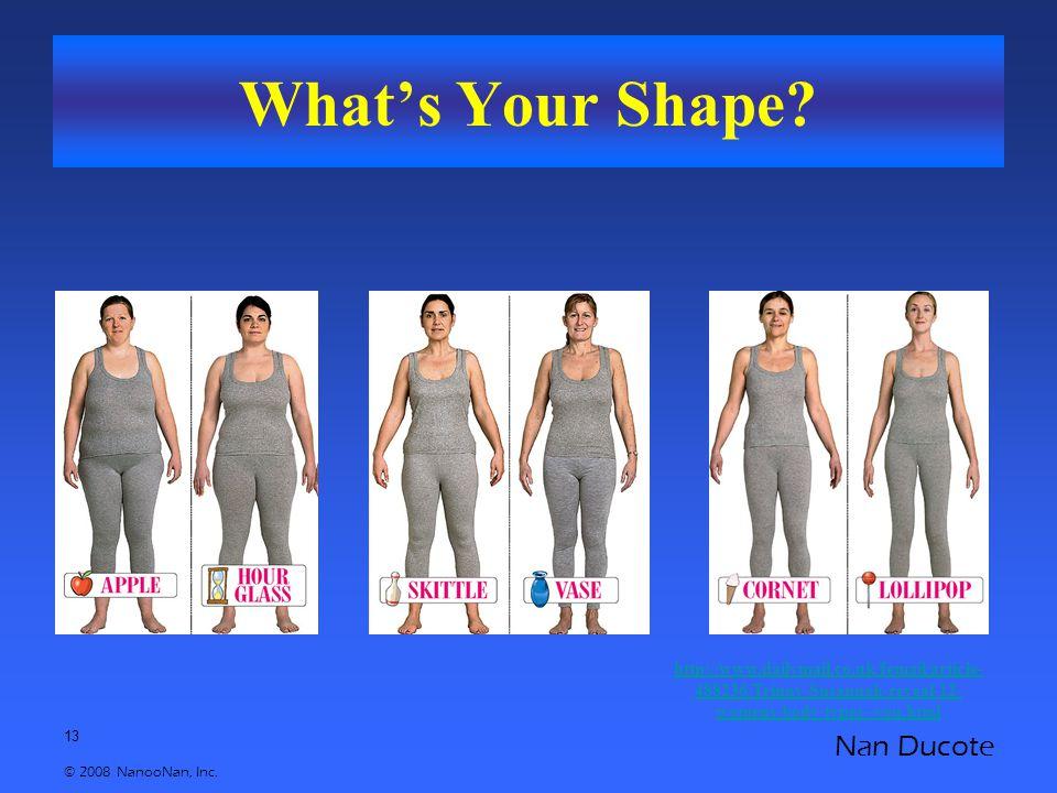 13 © 2008 NanooNan, Inc. Nan Ducote What's Your Shape.