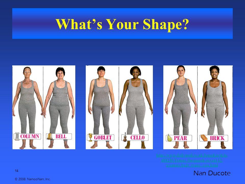 14 © 2008 NanooNan, Inc. Nan Ducote What's Your Shape.