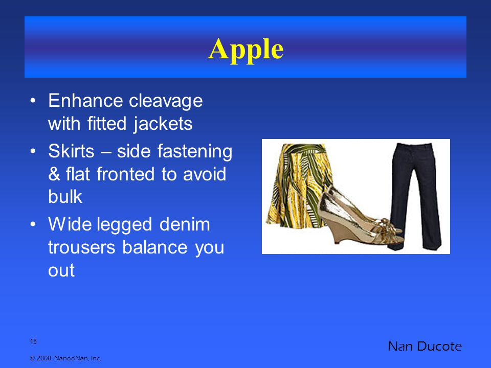 15 © 2008 NanooNan, Inc. Nan Ducote Apple Enhance cleavage with fitted jackets Skirts – side fastening & flat fronted to avoid bulk Wide legged denim